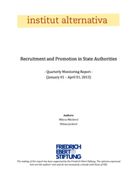 Recruitment and Promotion In State Administration – First Quarterly Report