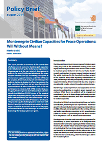 Montenegrin Civilian Capacities for Peace Operations: Will Without Means?