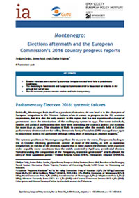 Policy brief: Montenegro – Elections aftermath and the EC 2016 country progress report