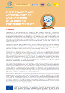 Public finances and accountability of administration: What does the Protector protect?