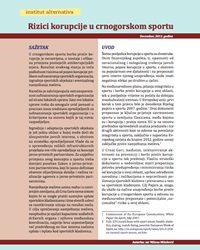 Rizici korupcije u crnogorskom sportu