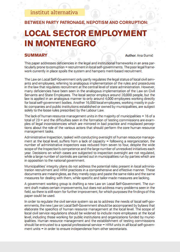 Between Party Patronage, Nepotism and Corruption: Local Sector Employment in Montenegro