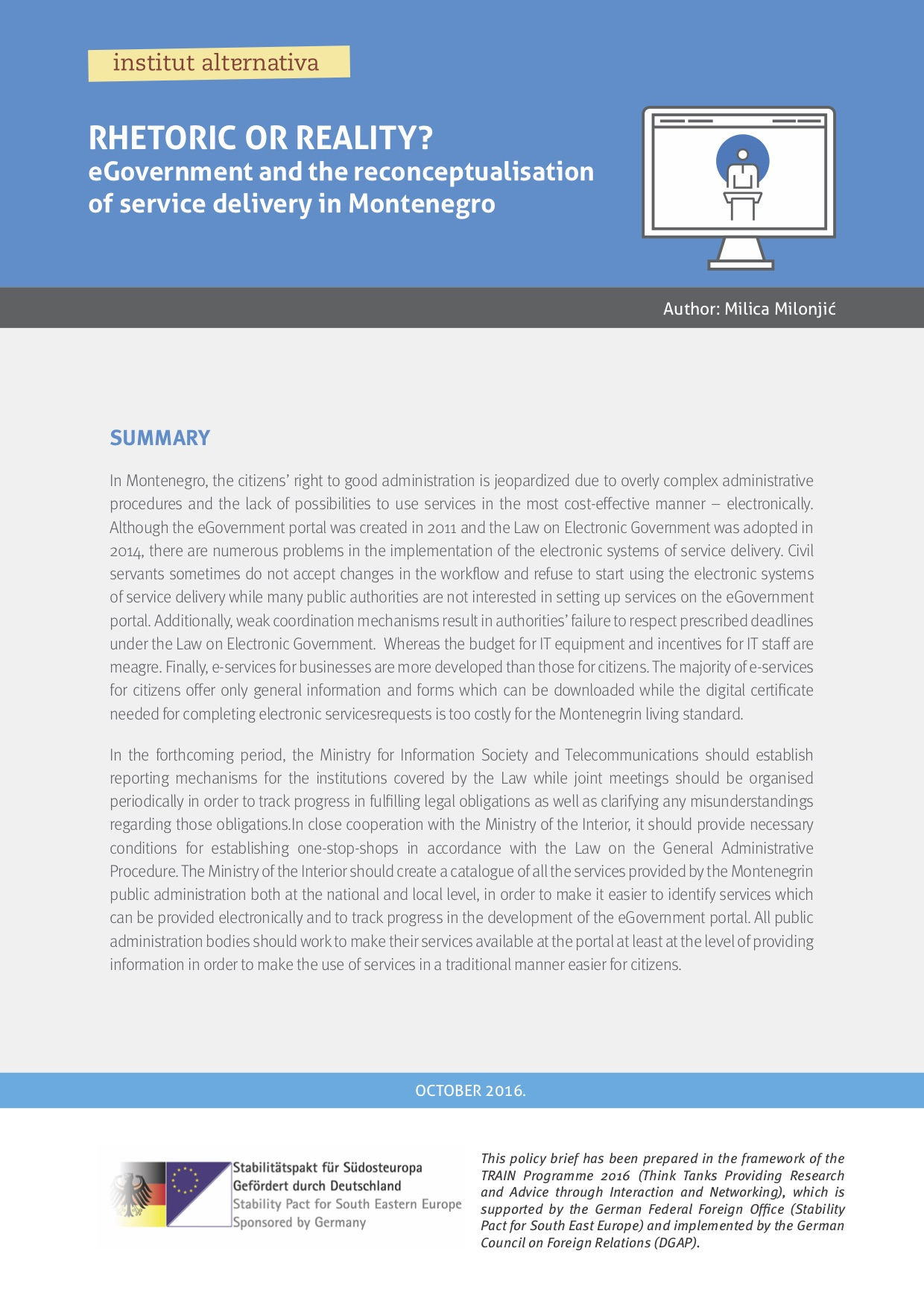 Rhetoric or reality? E-Government and the reconceptualisation of service delivery in Montenegro