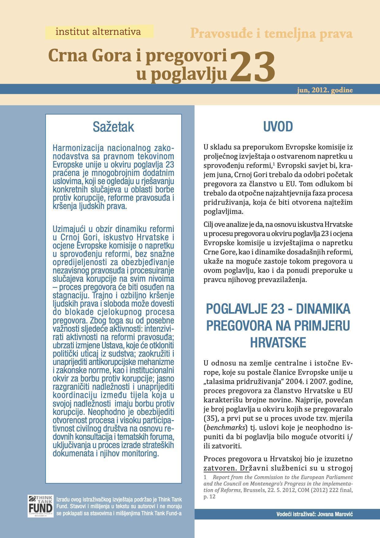 Crna Gora i pregovori u poglavlju 23 - Pravosuđe i temeljna pravda
