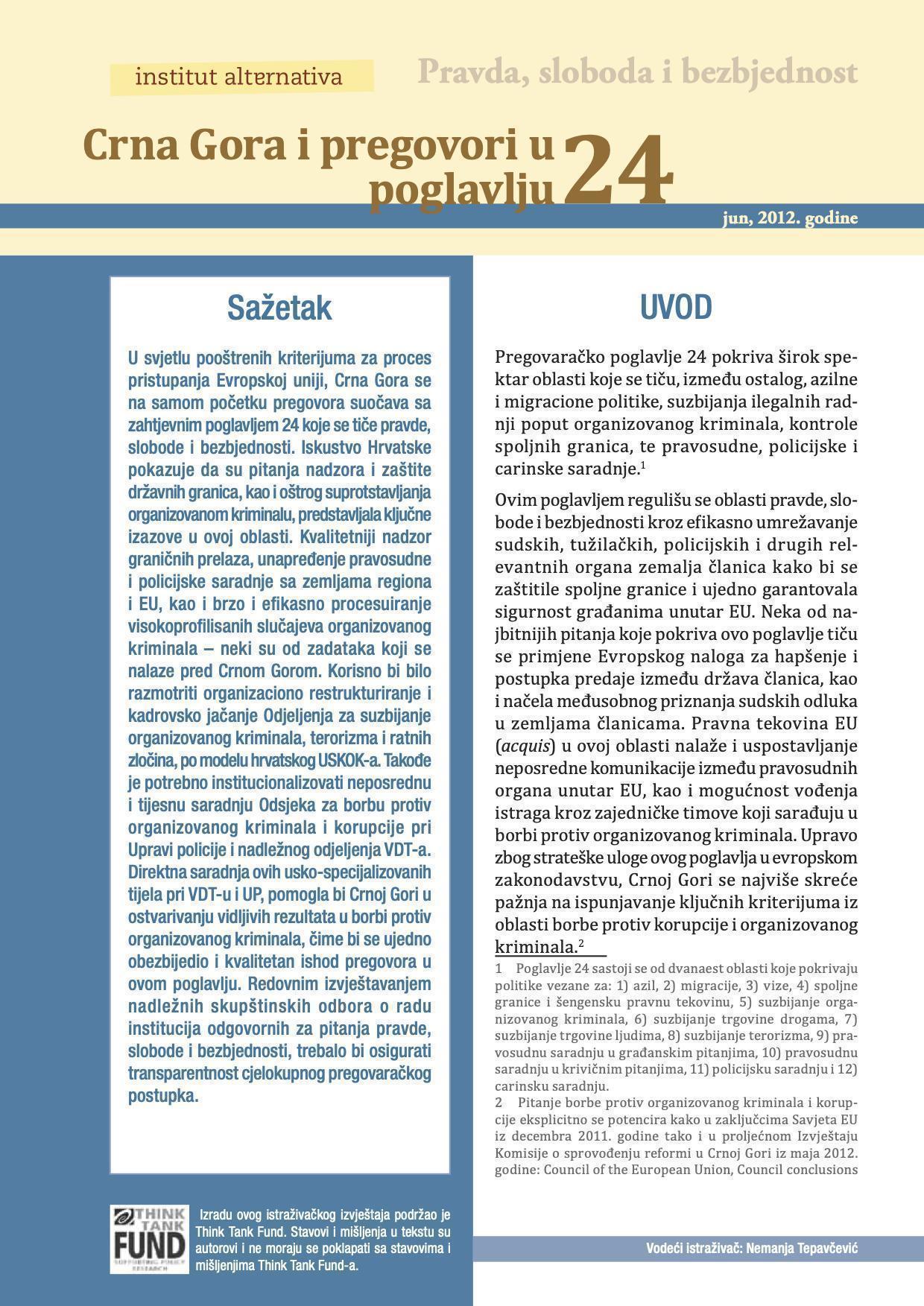 Crna Gora i pregovori u poglavlju 24 - Pravda, sloboda i bezbjednost