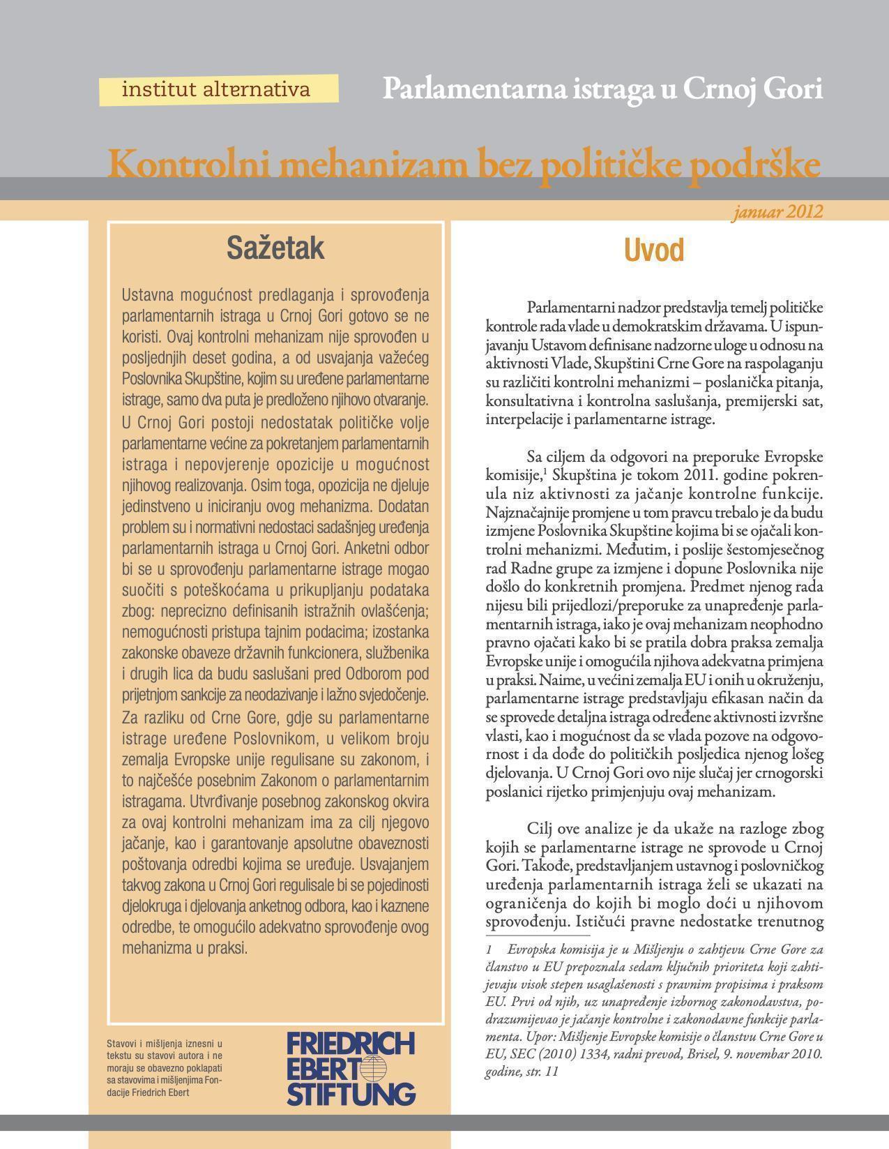Parlamentarne istrage u Crnoj Gori – Kontrolni mehanizam bez političke podrške