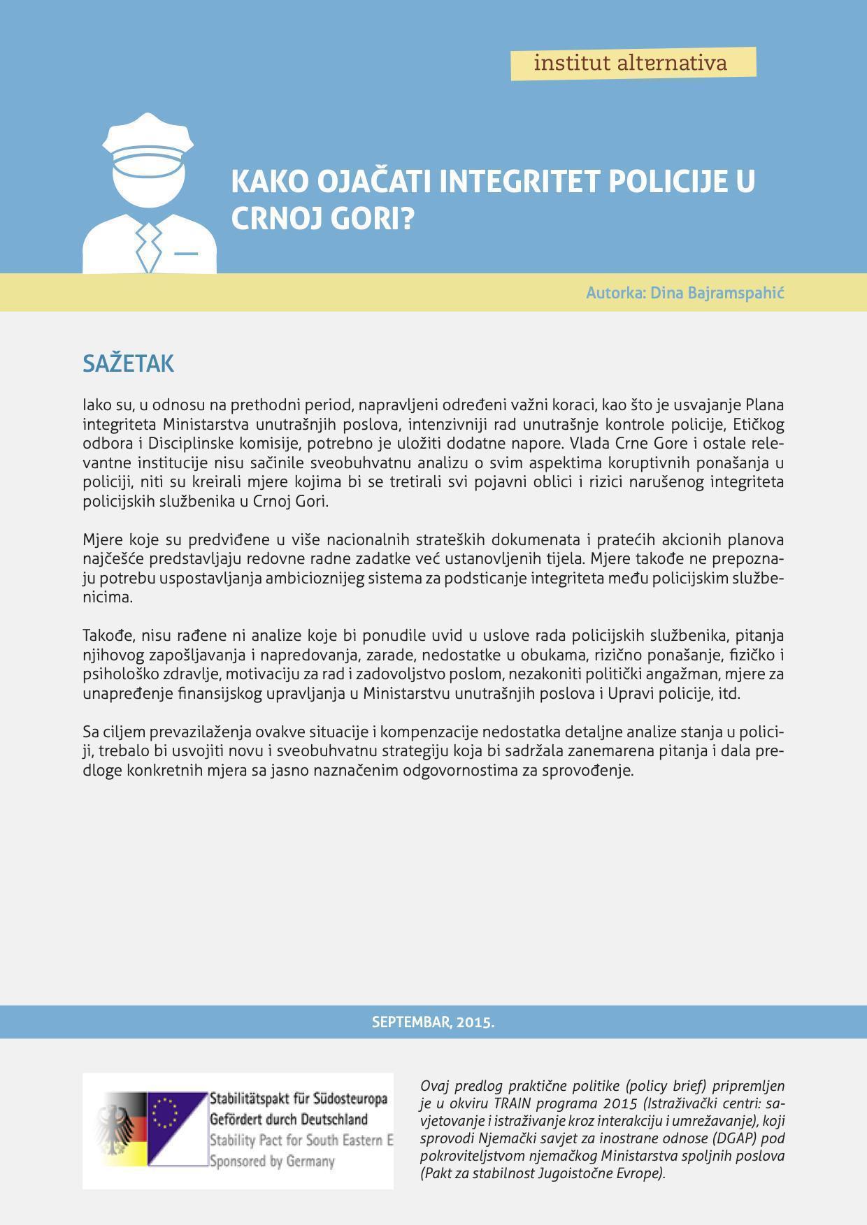 Kako ojacati integritet policije u Crnoj Gori
