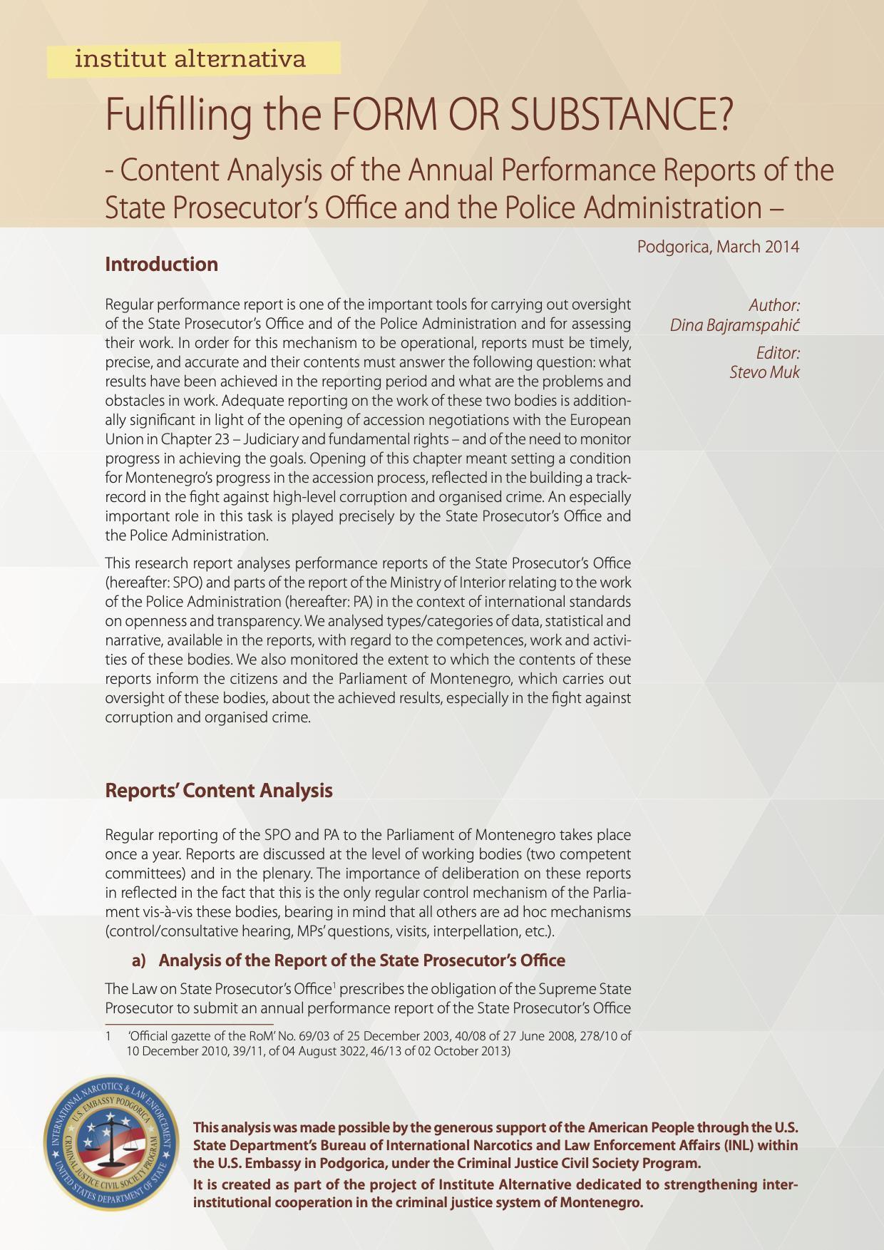 Zadovoljena FORMA ILI SUŠTINA? - Analiza sadržine godišnjih izvještaja o radu Državnog tužilaštva i Uprave policije