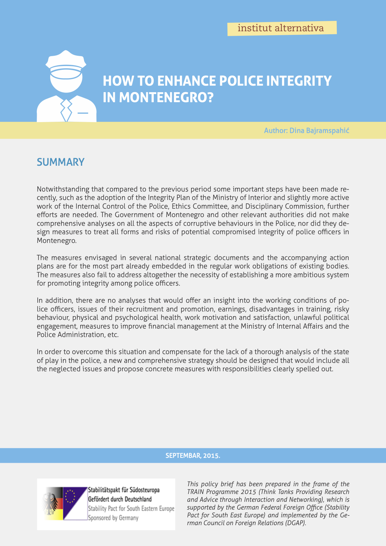 How to enhance police integrity in Montenegro?